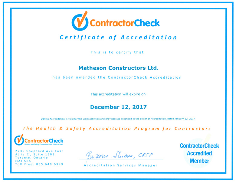 ContractorCheck Certificate of Accreditation